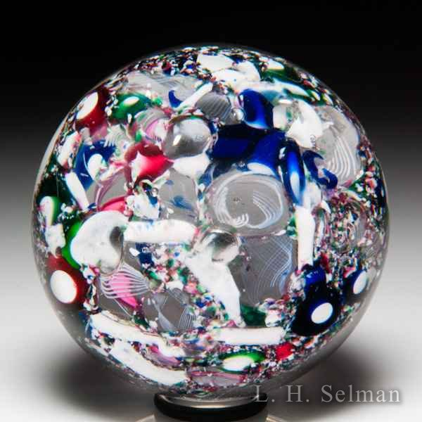 Antique New England Glass Company end-of-day scrambled millefiori paperweight. by American