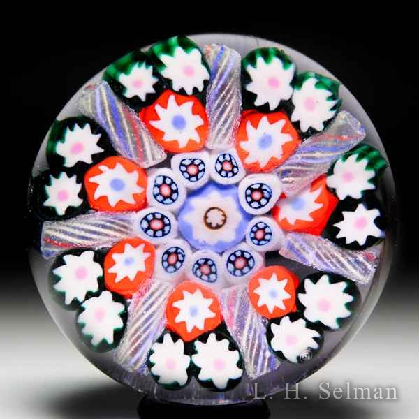 Early Paul Ysart patterned millefiori and tubes glass paperweight. by Paul Ysart
