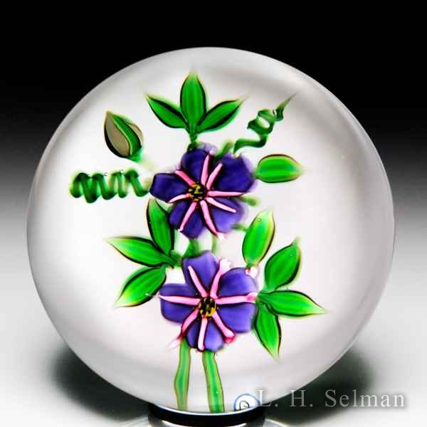 Debbie Tarsitano passion flowers petite glass paperweight. by Debbie Tarsitano