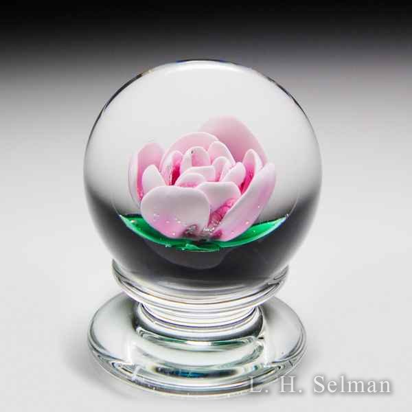 Francis Whittemore pink crimp rose pedestal glass paperweight. by Francis Whittemore