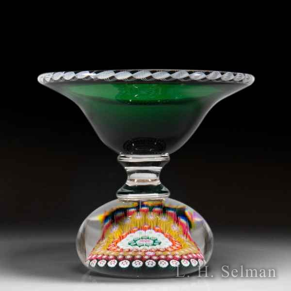 Saint Louis 1983 close concentric millefiori green ring dish. by  Saint Louis Moderns
