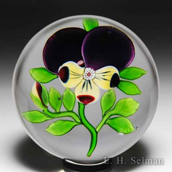 Antique Baccarat Type III pansy and a bud paperweight. by  Baccarat Antique