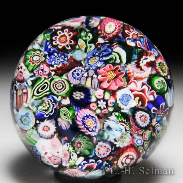 Antique Clichy end-of-day scrambled millefiori glass paperweight. by  Clichy