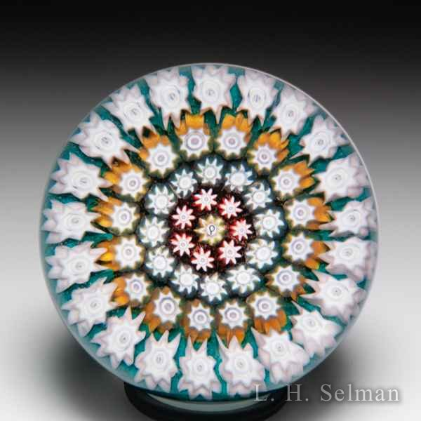 Perthshire Paperweights pre-1973 close concentric millefiori miniature glass paperweight. by  Perthshire Paperweights