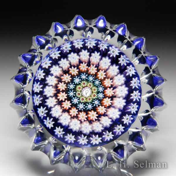 Perthshire Paperweights concentric millefiori  with pressed fluted edge glass paperweight. by  Perthshire Paperweights