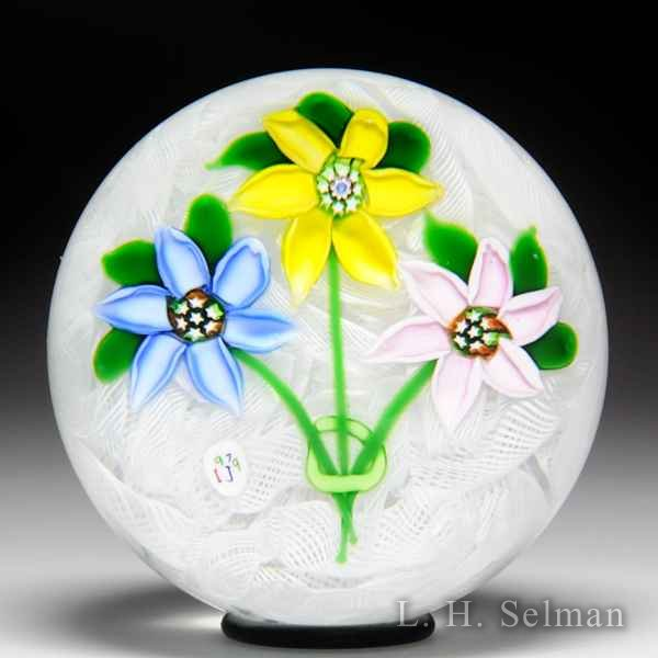 'J' Glass 1979 three-flower bouquet glass paperweight. by J Glass