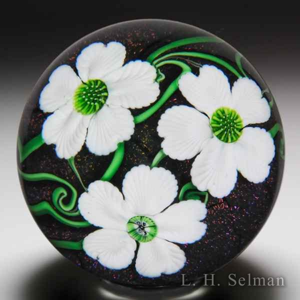 Orient & Flume 1983 three white flowers on iridescent ground paperweight. by Orient & Flume