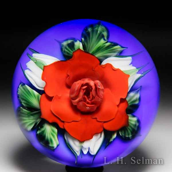 Lundberg Studios 2005 red rose and white buds magnum glass paperweight, by Daniel Salazar. by  Lundberg Studios