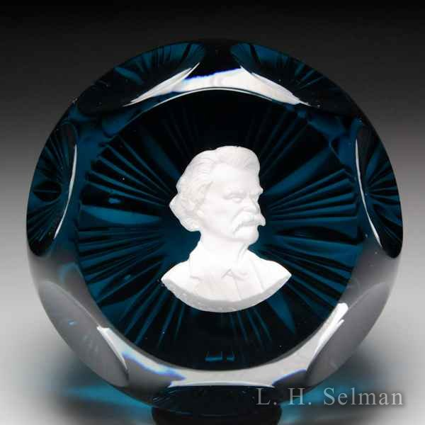 D'Albret 1969 Mark Twain sulphide faceted glass paperweight. by  D'Albret