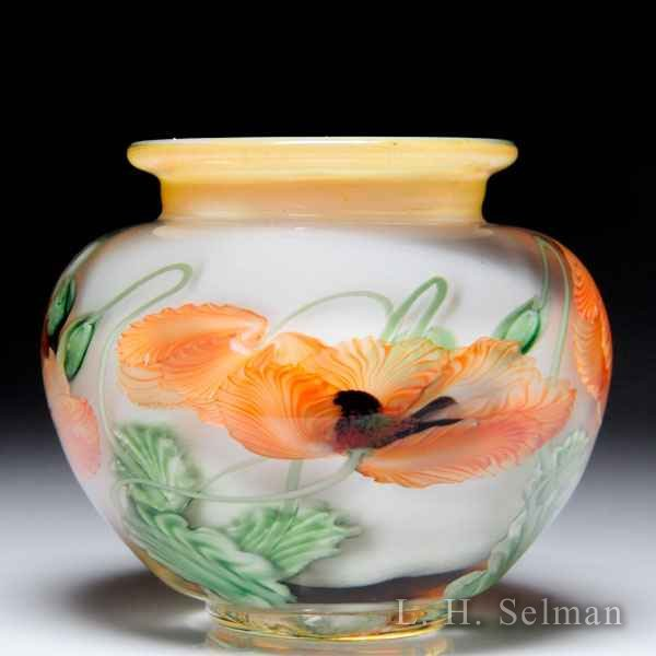 Lundberg Studios 2001 orange poppies petite compound vase, by Daniel Salazar. by  Lundberg Studios