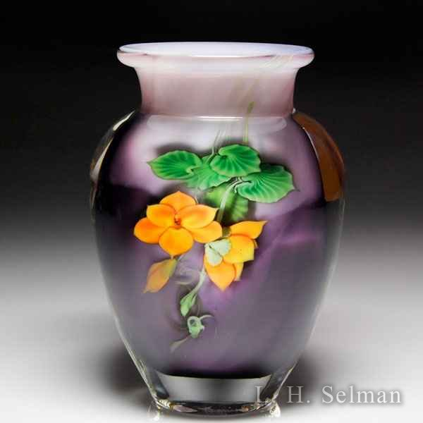 Lundberg Studios 1994 orange blossoms petite compound vase, by Daniel Salazar. by  Lundberg Studios