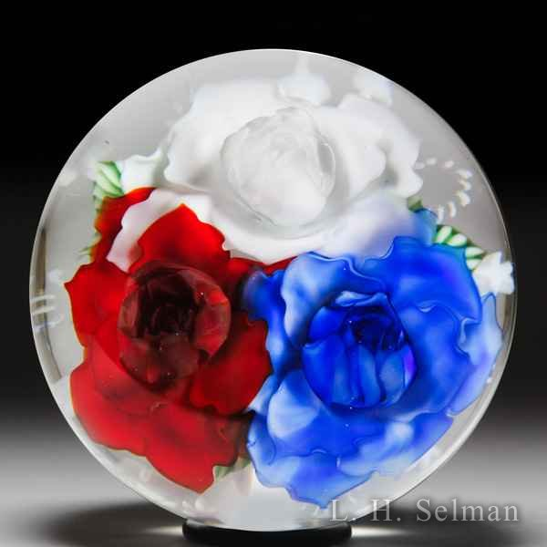 Lundberg Studios 2014 red, white and blue flowers bouquet with stars and stripes glass paperweight, by Daniel Salazar. by  Lundberg Studios