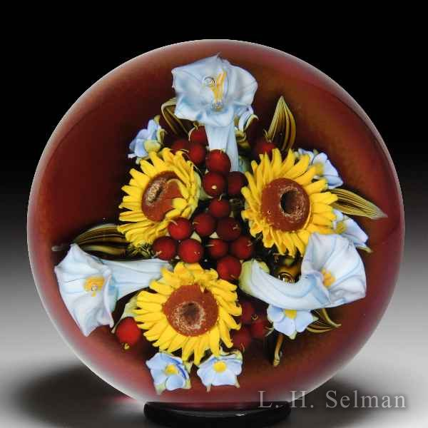 David Graeber 2010 sunflower and morning glory bouquet paperweight. by David Graeber