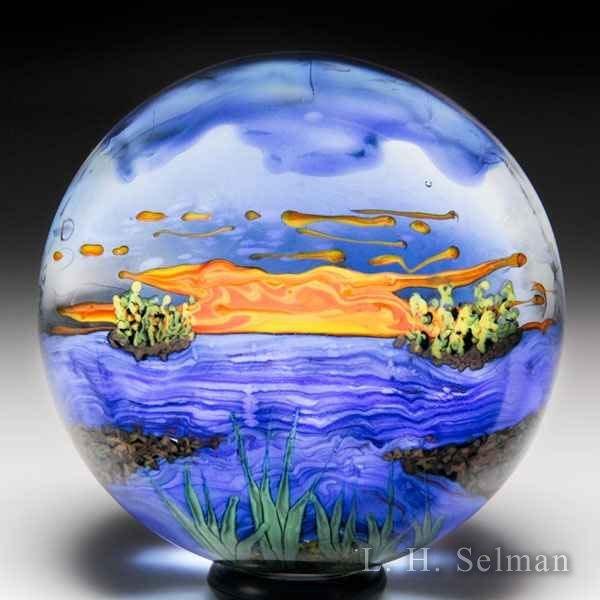 Yaffa & Jeff Todd 2010 'New England' sunrise paperweight. by Yaffa & Jeff Todd