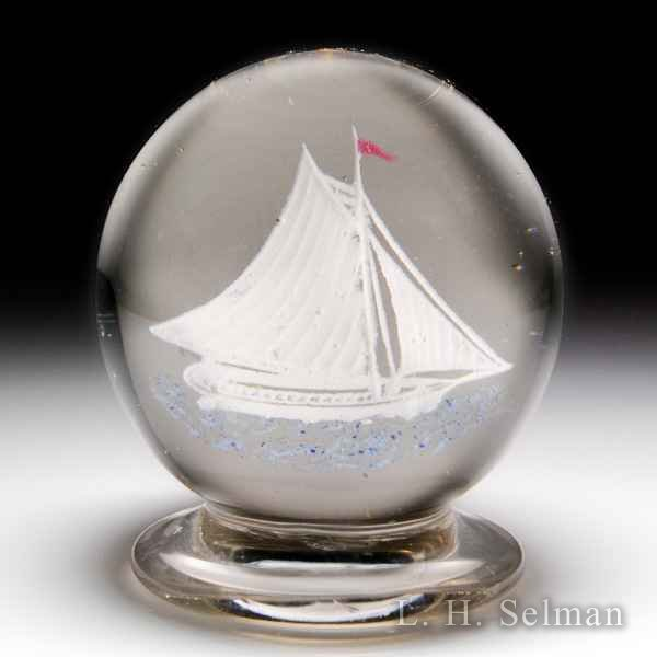 Very rare antique Millville frit sailing ship pedestal glass paperweight. by  American