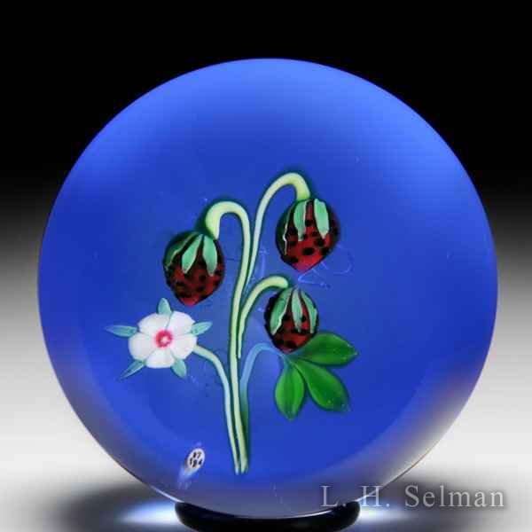 Baccarat 1974 strawberries and blossom glass paperweight. by Baccarat Moderns