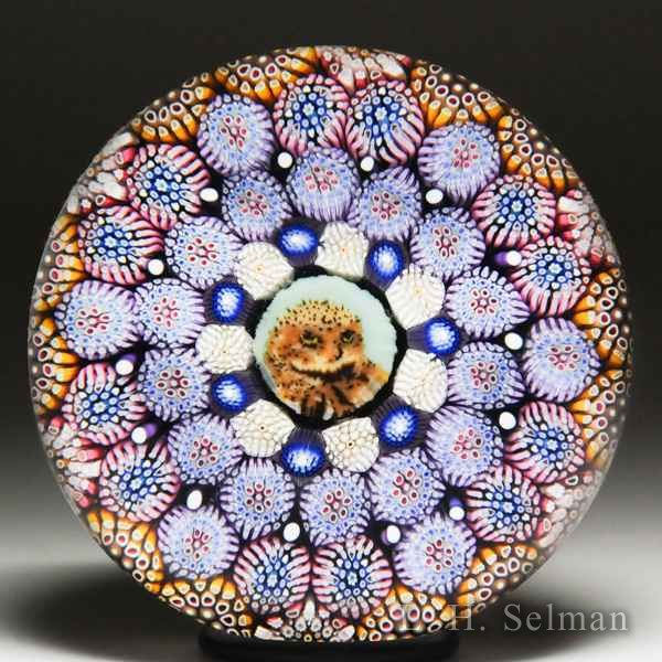 Mike Hunter 2016 owl murrina and complex concentric millefiori paperweight. by Twists Glass Studio