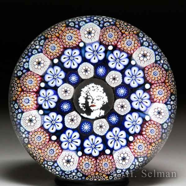 Mike Hunter 2017 close concentric millefiori, flowers and Marilyn Monroe murrina glass paperweight. by Twists Glass Studio