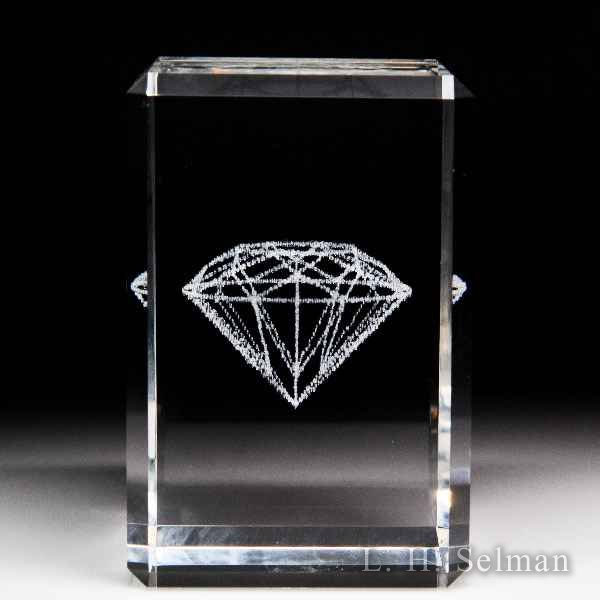 Laser Light 'Diamond' laser-etched glass paperweight. by Laser Crystals