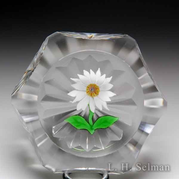 Perthshire Paperweights daisy flower faceted glass paperweight. by  Perthshire Paperweights