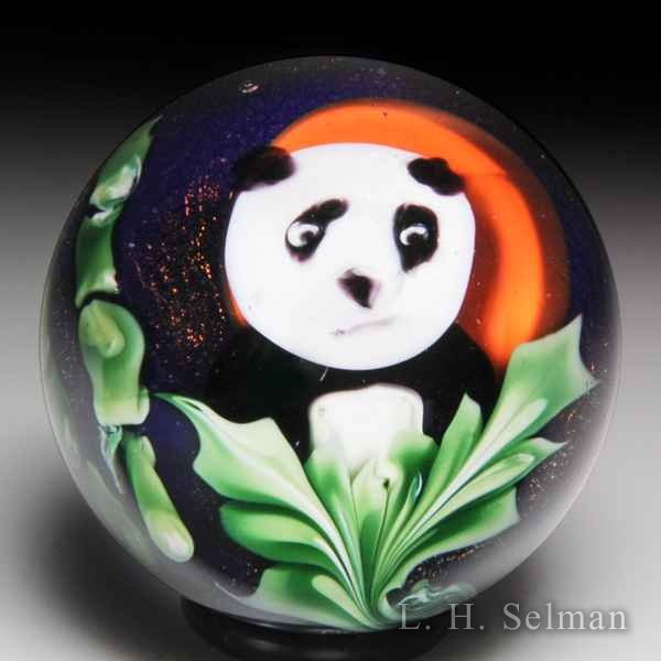 Jesse Siegel 2007 'Panda' and bamboo compound miniature glass paperweight. by Jessie Siegel