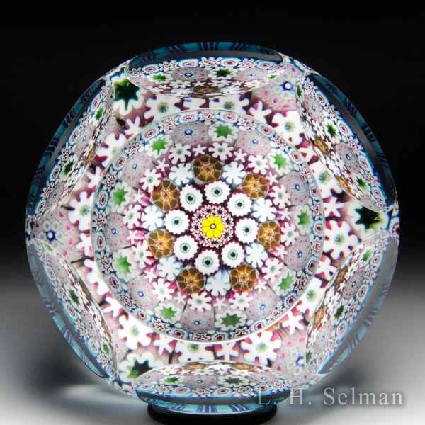 Damon MacNaught 2016 close concentric millefiori faceted glass paperweight. by Damon MacNaught
