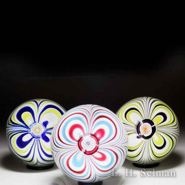 John Deacons 2017 marbrie and rose cane in matching color paperweight. by John Deacons