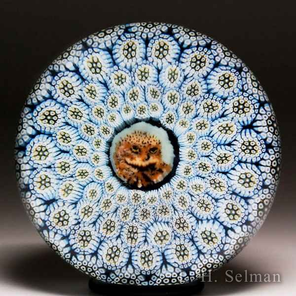 Mike Hunter 2017 owl murrina and blue complex concentric millefiori glass paperweight. by Twists Glass Studio