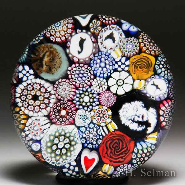Mike Hunter 2017 owl and Marilyn Monroe murrine close packed glass paperweight. by Twists Glass Studio