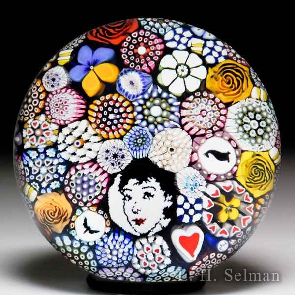 Mike Hunter 2017 Belle murrina and pansy complex close packed paperweight. by Twists Glass Studio