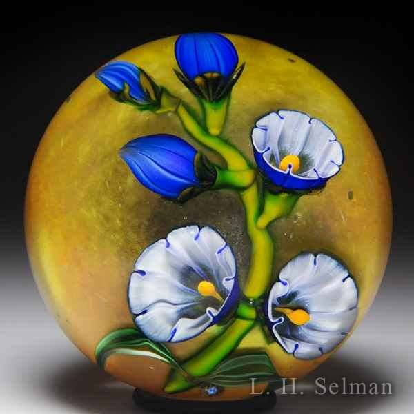 Eric Hansen 2014 blue morning glory bell flowers glass paperweight. by Eric Hansen
