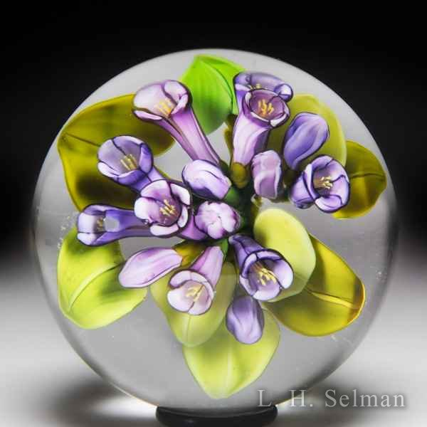 Cathy Richardson 2017 'Purple Trumpets' miniature glass paperweight. by Cathy Richardson