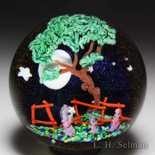 Mayauel Ward 2017 tree and full moon compound paperweight. by Mayauel Ward