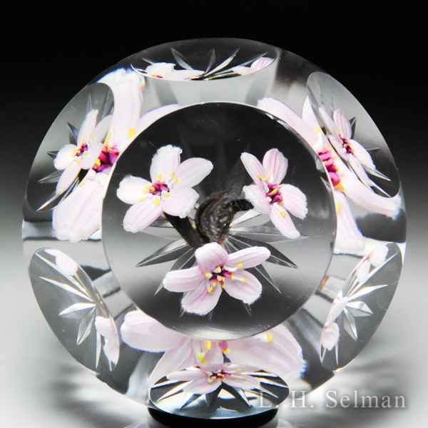 Caithness Glass 2016 Experimental three pink cherry blossoms magnum faceted glass paperweight, by Allan Scott. by Caithness  Glass Inc