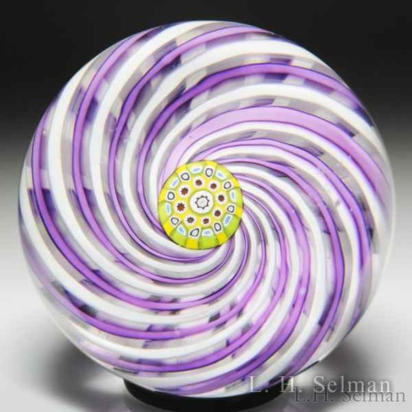 Crieff Glass purple and white swirl paperweight. by  Misc Modern