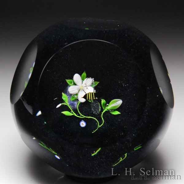 Bob Banford clematis and bee faceted paperweight. by Bob Banford