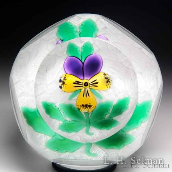 Perthshire Paperweights 2000 pansy faceted paperweight. by  Perthshire Paperweights