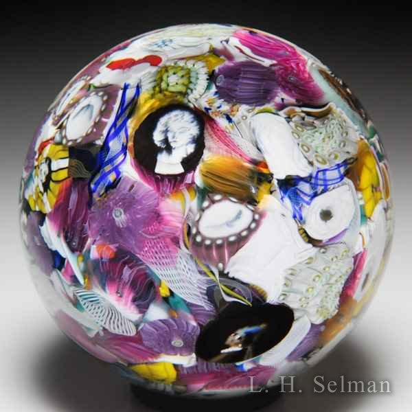 Mike Hunter 2017 murrine, silhouettes, roses scrambled millefiori glass paperweight. by Twists Glass Studio