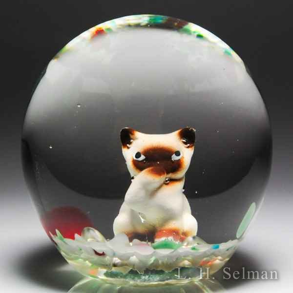 Unidentified American cat sulphide paperweight. by  American