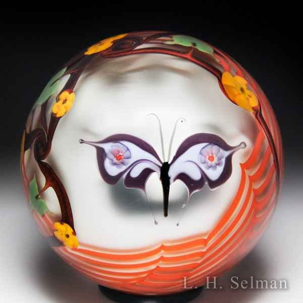 Bridgeton Studio 1978 purple butterfly glass paperweight, by Ziegler. by  Misc Modern