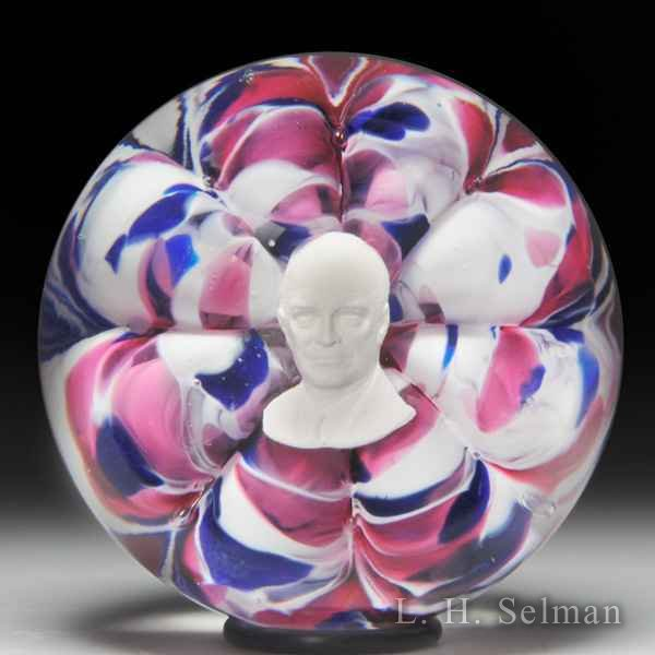 Joe St. Clair President Dwight Eisenhower sulphide paperweight. by St Clair