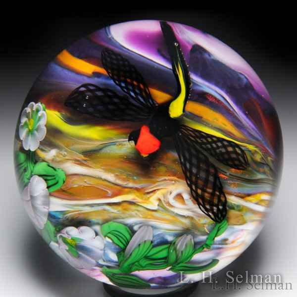 Eric Hansen 2012 dragonfly and morning glories glass paperweight. by Eric Hansen