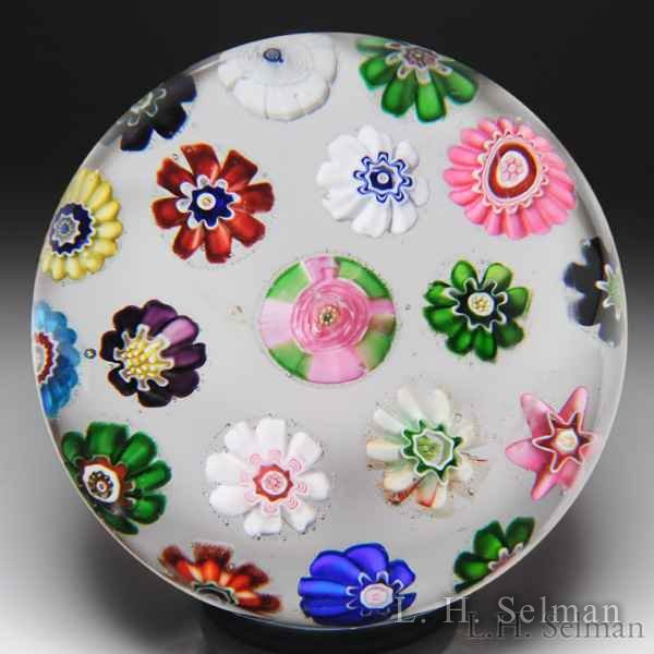 Antique Clichy spaced concentric millefiori glass paperweight. by  Clichy
