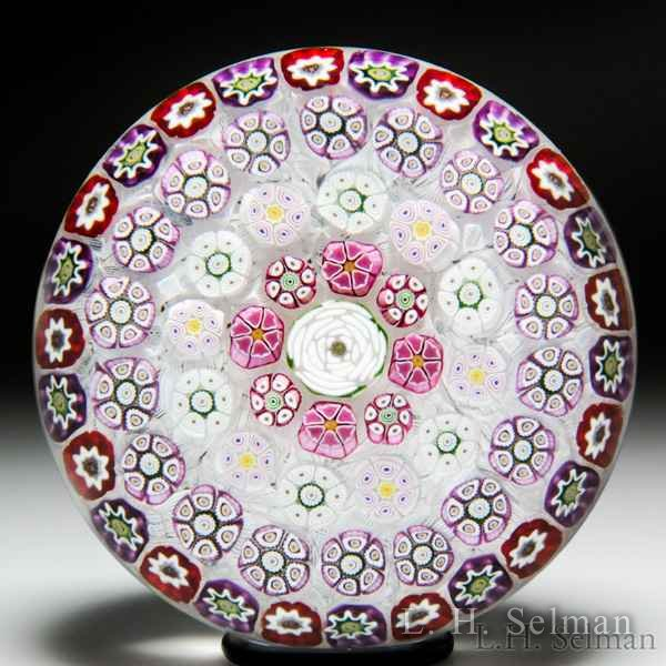 Parabelle Glass 1997 pink and white concentric millefiori with cabbage rose glass paperweight. by  Parabelle Glass