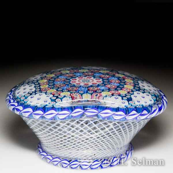 Saint Louis 1981 'Basket of Flowers' Clichy-inspired patterned millefiori pedestal glass paperweight. by  Saint Louis