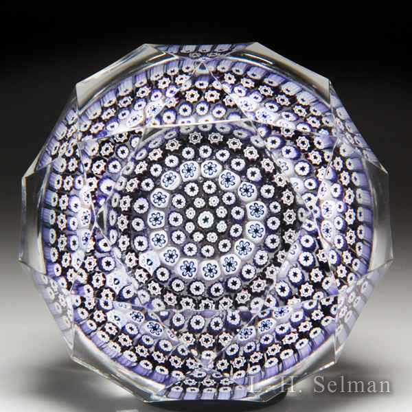 Whitefriars 1973 close concentric millefiori faceted paperweight. by Whitefriars