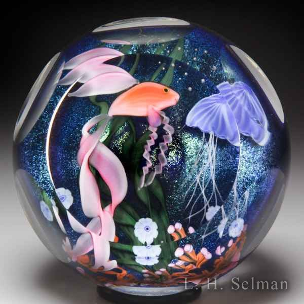 Lundberg Studios 1987 underwater scene with beta fish faceted glass paperweight, by Stephen Lundberg. by  Lundberg Studios