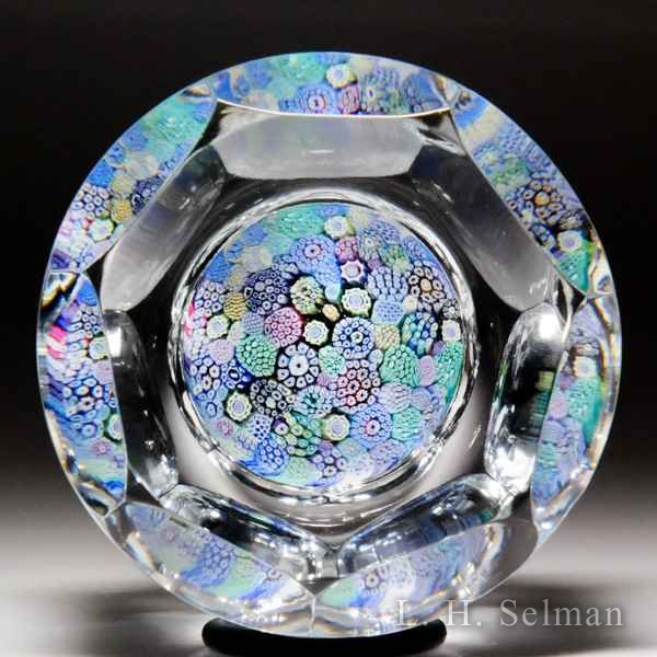 Whitefriars 1974 close packed millefiori faceted cylindrical glass paperweight. by  Whitefriars