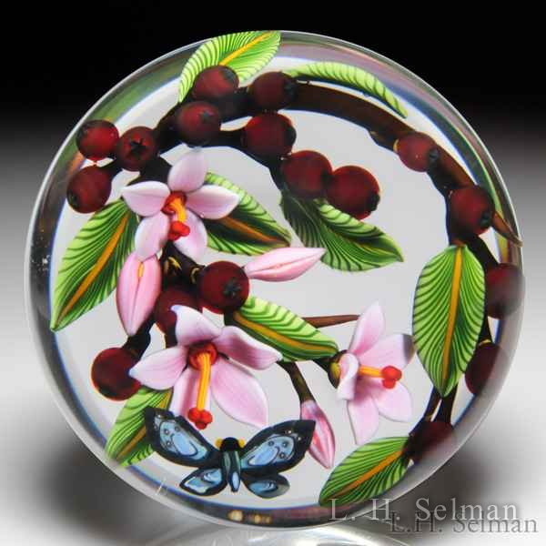 Colin Richardson 2013 butterfly with berries and blossoms paperweight. by Colin Richardson