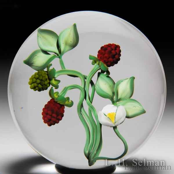 Gordon Smith 1988 raspberry bouquet paperweight. by Gordon Smith
